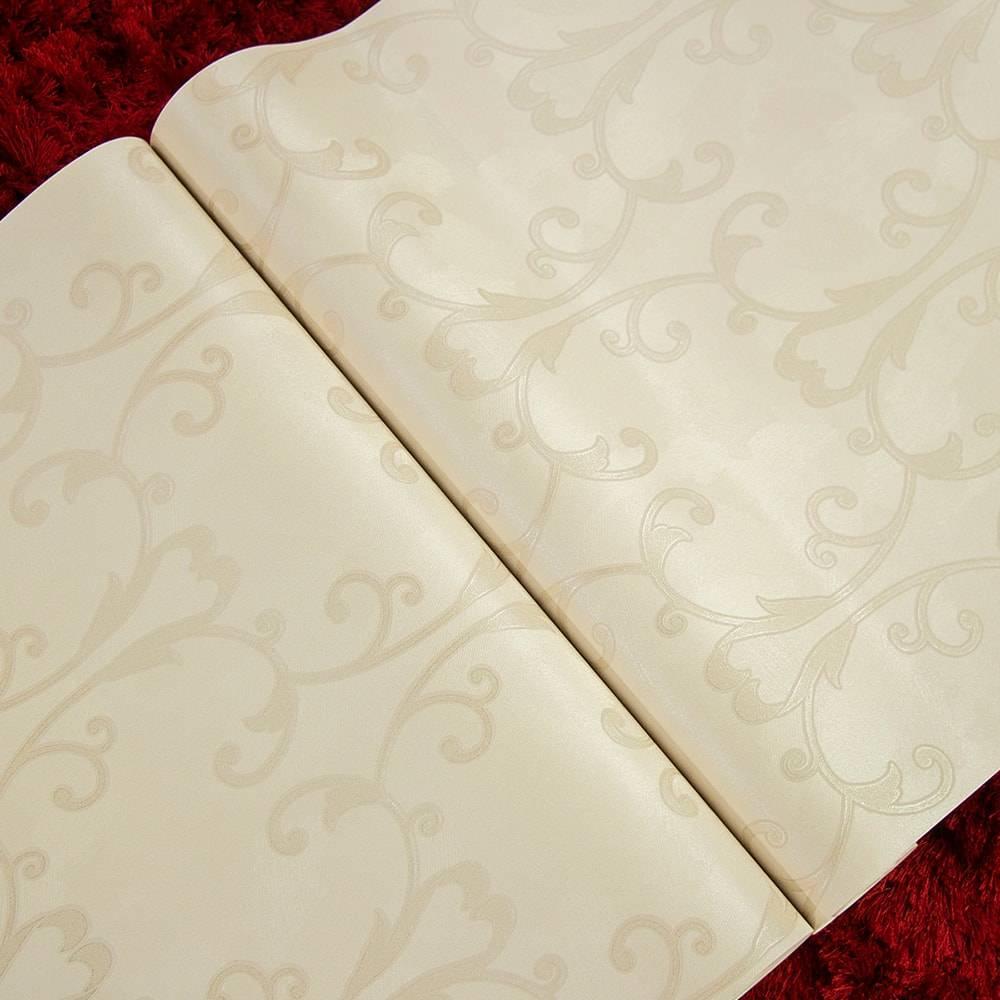 Papel de Parede Importado Vinílico Lavável Marrom Claro c/ Textura de Flores - 10x0,53 m