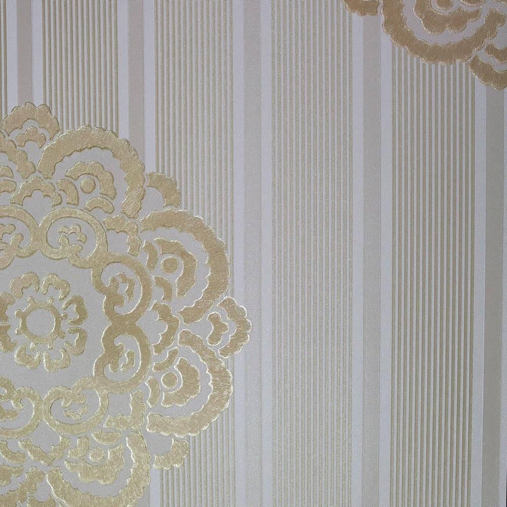 Papel de Parede Importado Vinílico Lavável Marrom Claro c/ Textura de Listras e Mandala Dourada - 10x0,53 m