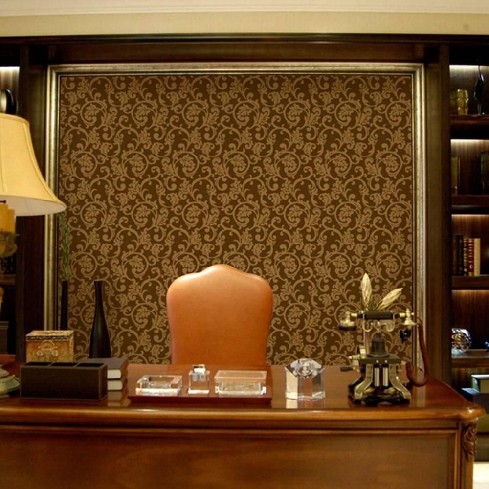 Papel de Parede Importado Vinílico Lavável Marrom Escuro c/ Textura de Ramos em Dourado - 10x0,53 m