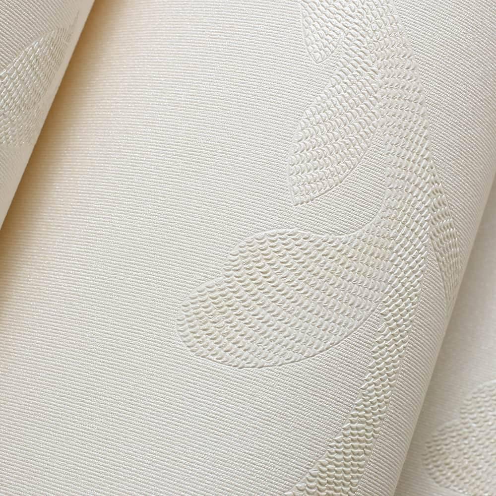 Papel de Parede Importado Vinílico Lavável Nude c/ Textura de Ramos em Bege - 10x0,53 m