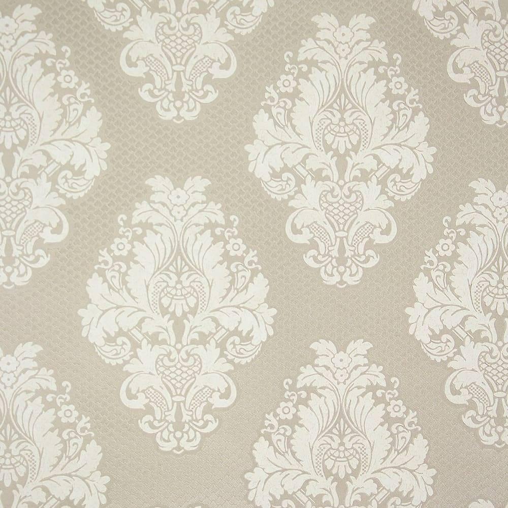 Papel de Parede Importado Vinílico Lavável Prata Envelhecido c/ Textura de Arabescos Off-White - 10x0,53 m