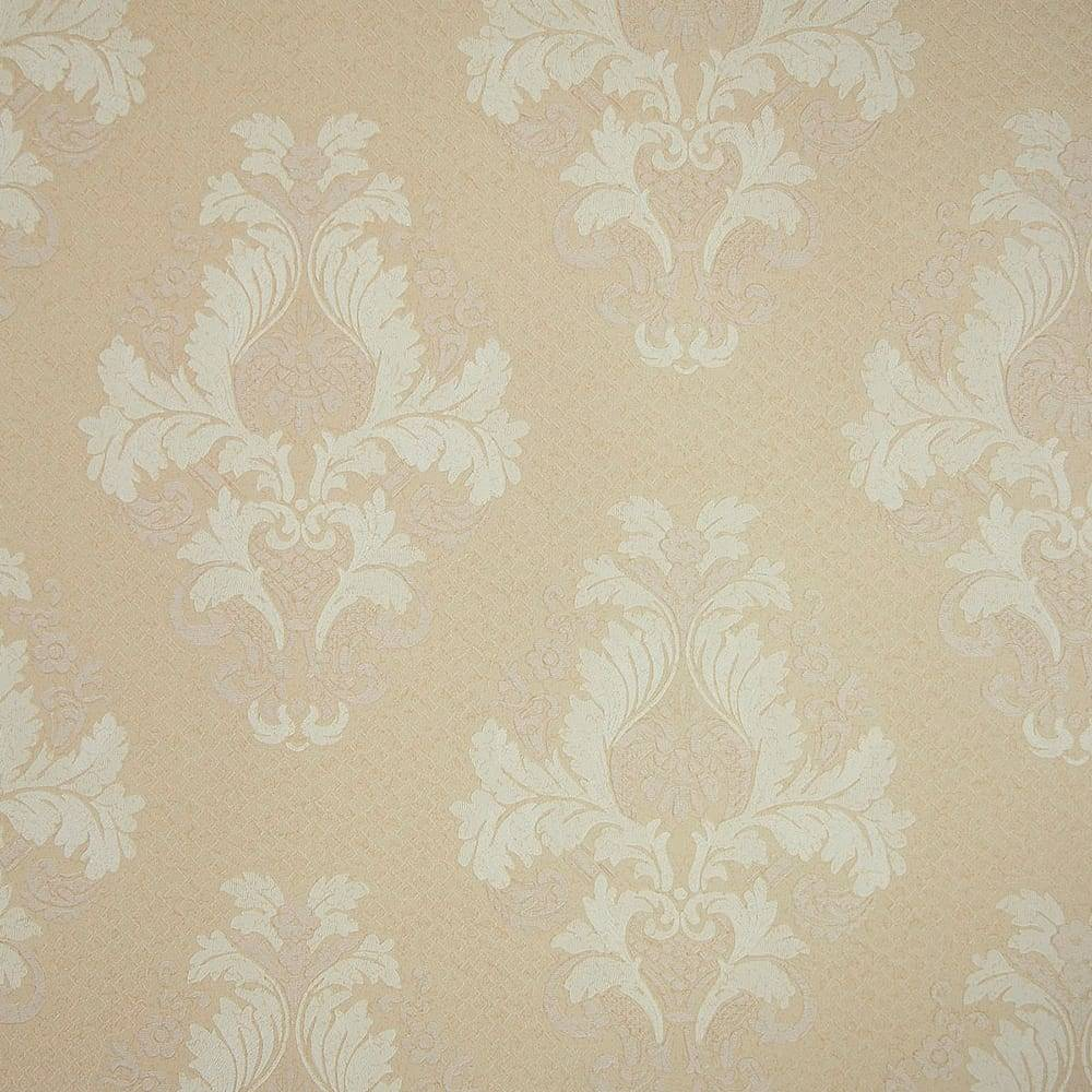 Papel de Parede Importado Vinílico Lavável Salmão Claro c/ Textura de Arabescos Off-White - 10x0,53 m