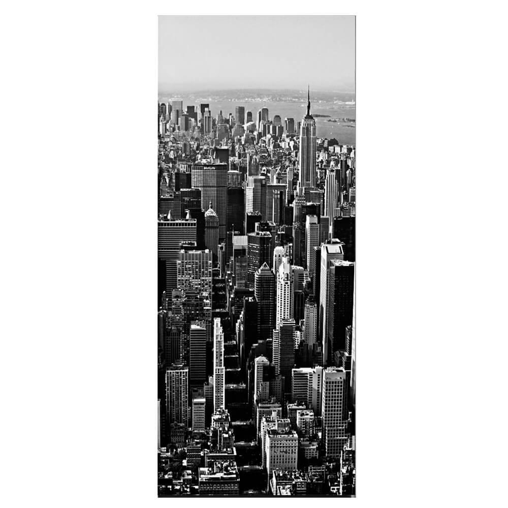 Papel de Parede para Porta New York Wallness Preto e Branco - Urban - 210x95 cm