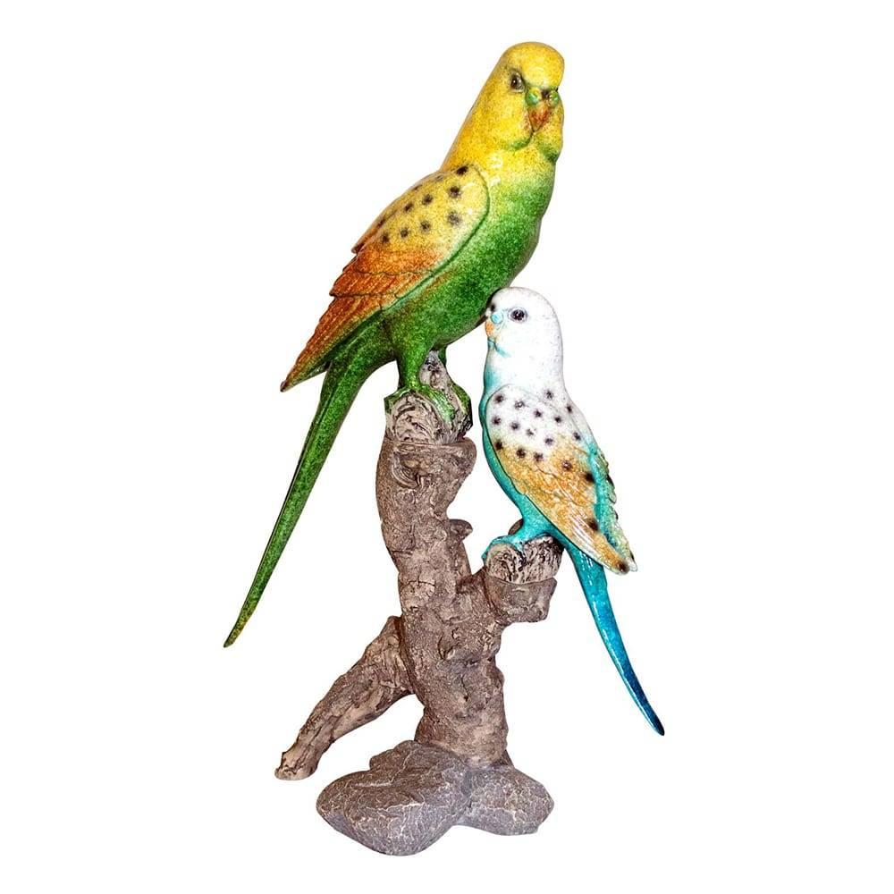 Pássaros Verde/Azul no Galho Fullway em Resina - 27x17 cm