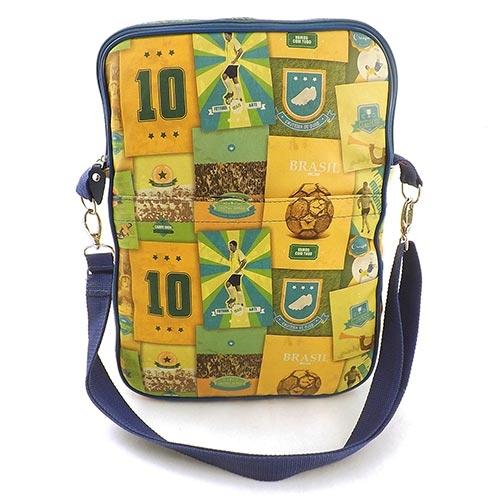 Pasta para Notebook Brasil do Futebol - Carpe Diem - Amarelo em Couro - 36x26 cm