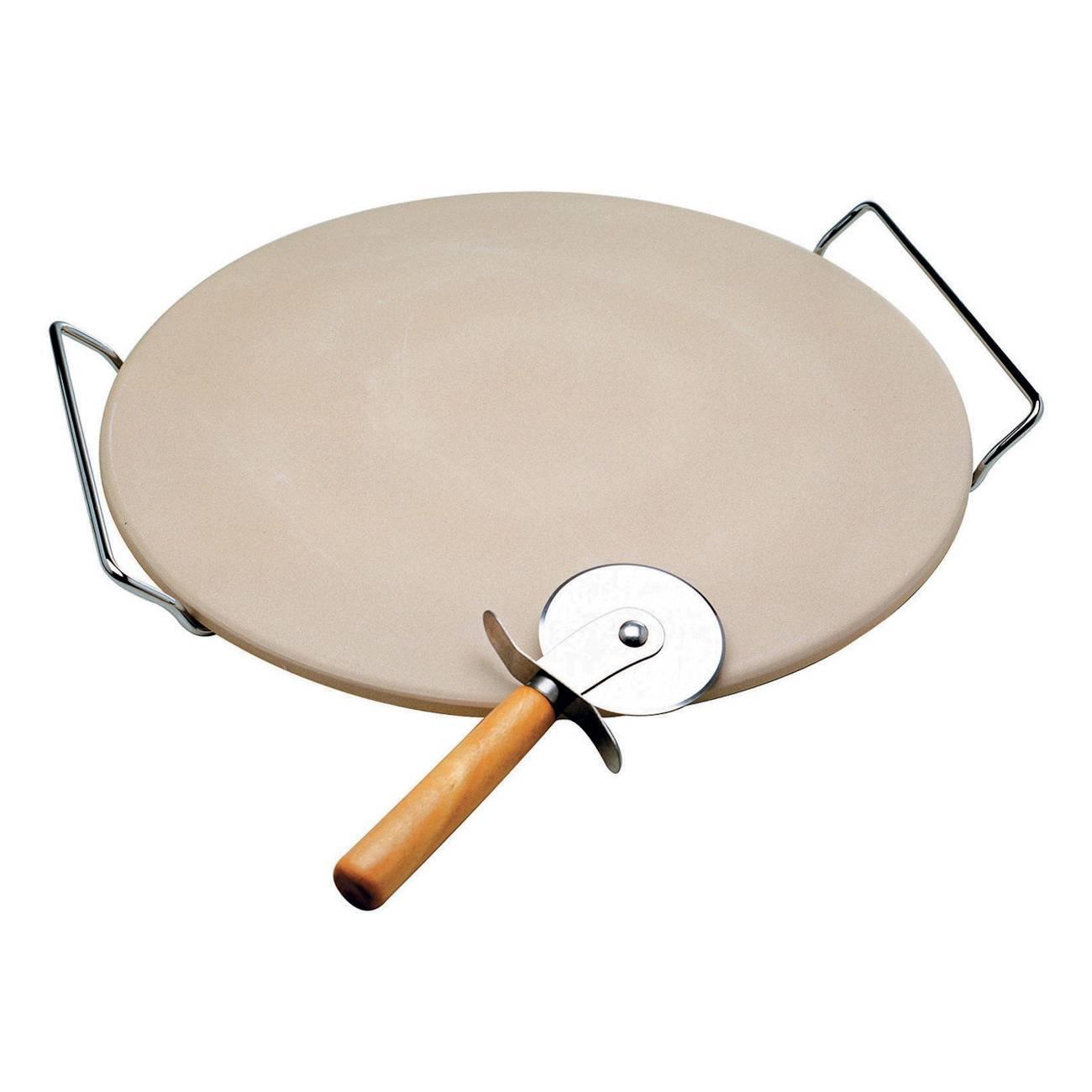 Pedra para Pizza c/ Cortador e Suporte Cromado - Bon Gourmet - 33 cm