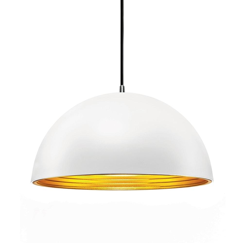 Pendente Athena Branco com Interior Dourado em Metal - 30x18 cm