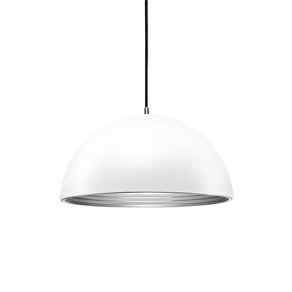 Pendente Athena Branco c/ Interior Prata Grande em Metal - 50x29 cm