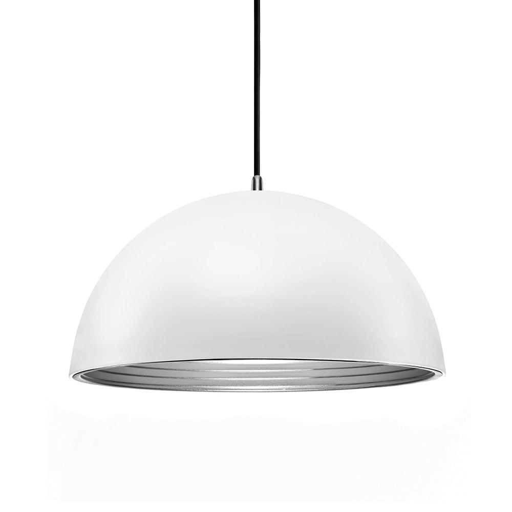 Pendente Athena Branco com Interior Prata em Metal - 30x18 cm