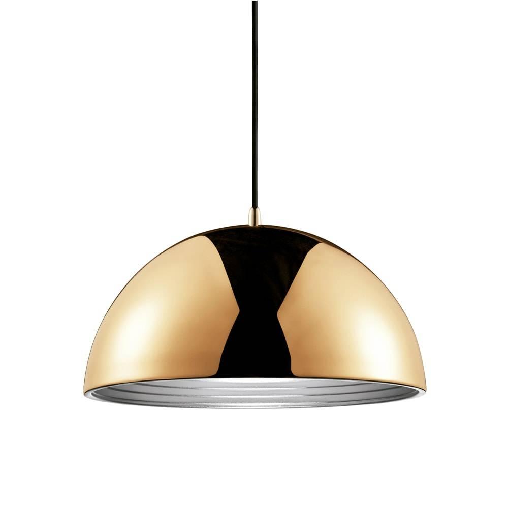 Pendente Athena Dourado c/ Interior Prata Grande em Metal - 50x29 cm