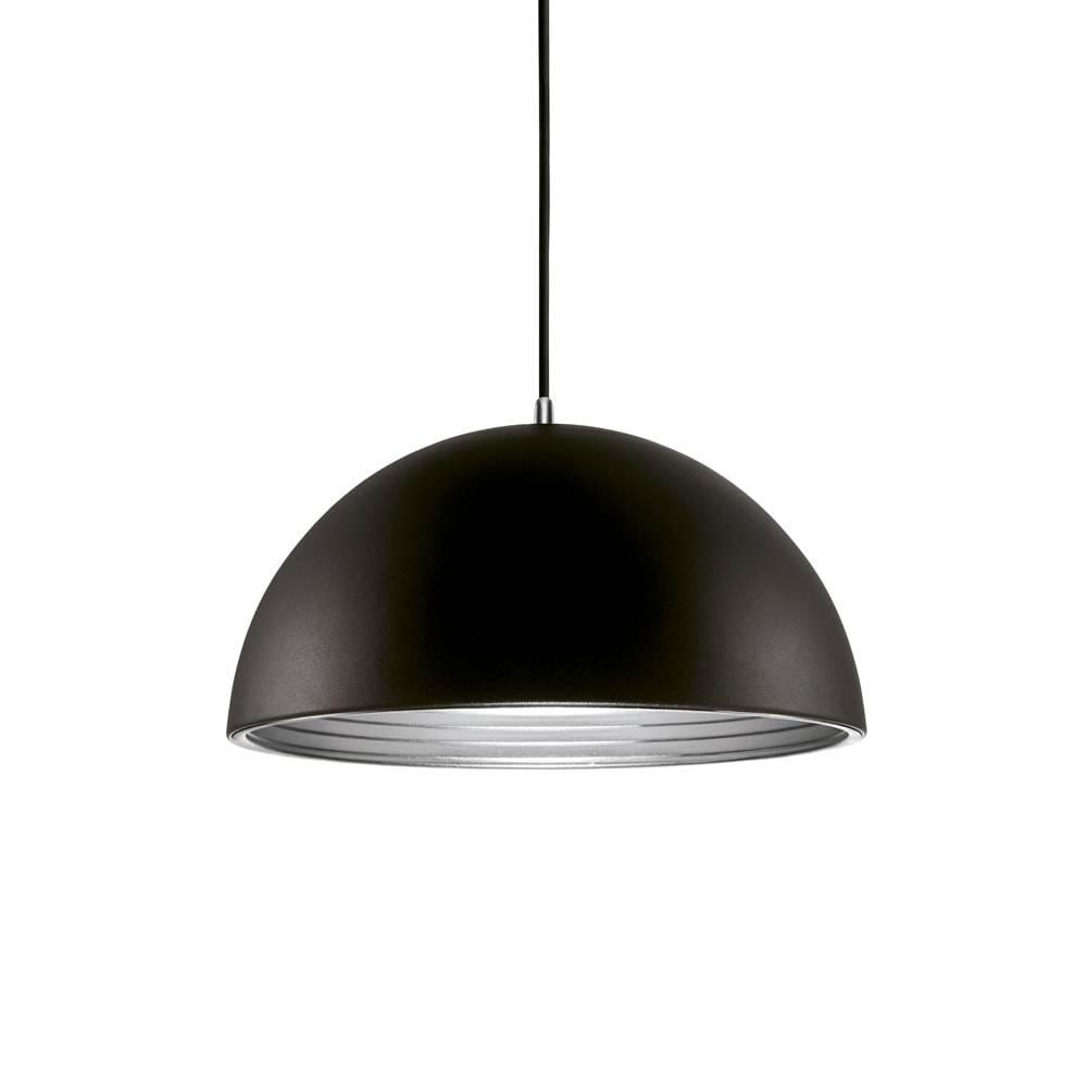 Pendente Athena Preto c/ Interior Prata Grande em Metal - 50x29 cm