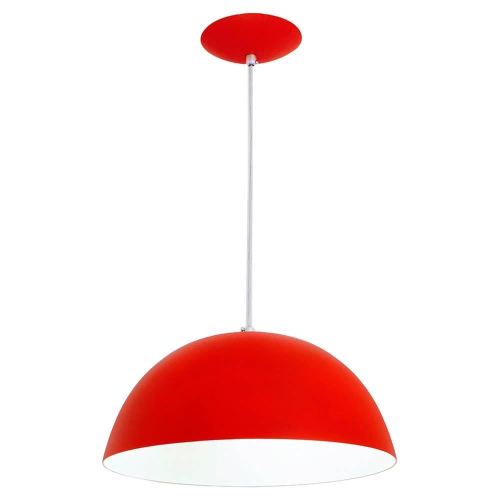 Pendente Bilbão Vermelho em Alumínio - com Haste Regulável - 80x32 cm