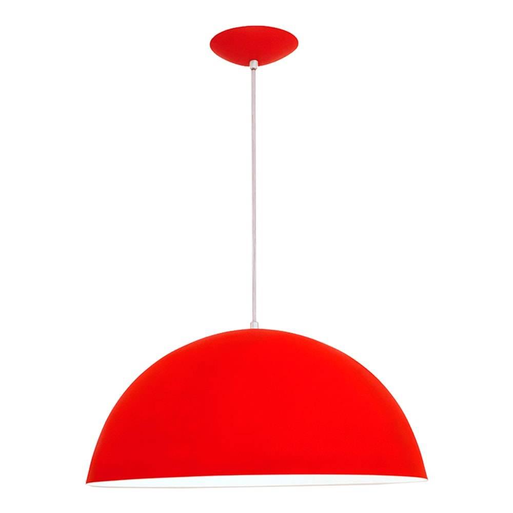 Pendente Bilbão Vermelho em Alumínio - com Haste Regulável - 80x48 cm