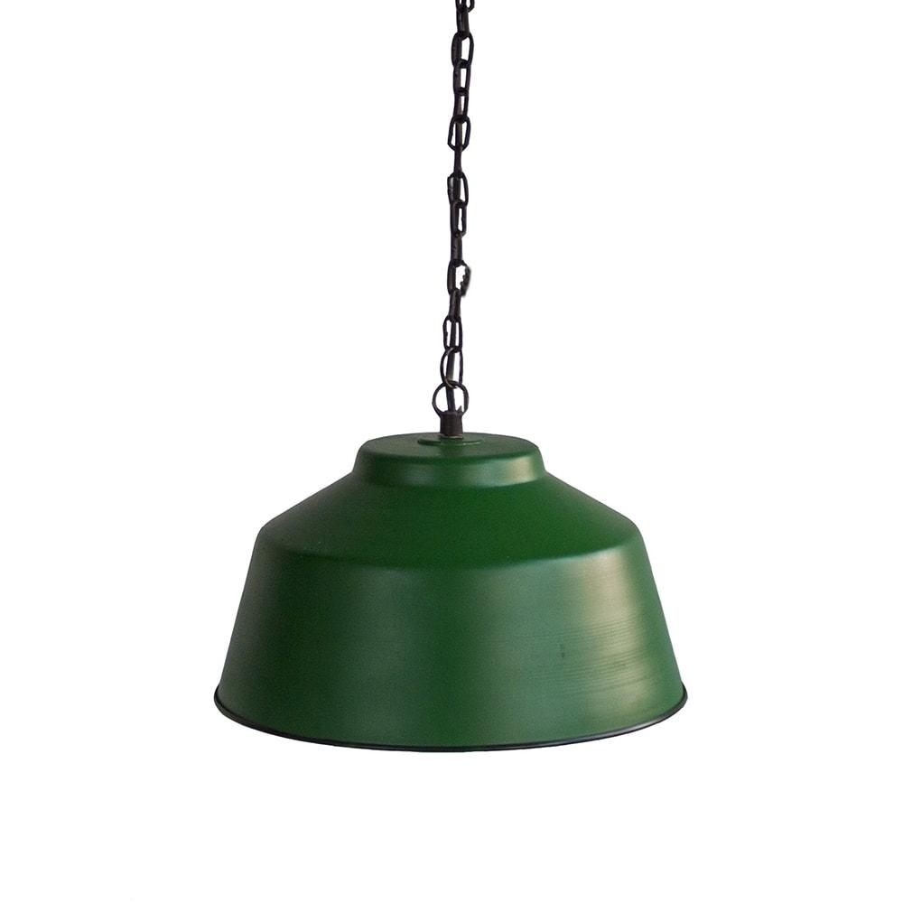 Pendente Bowl Invertido Verde em Ferro - 33x31 cm