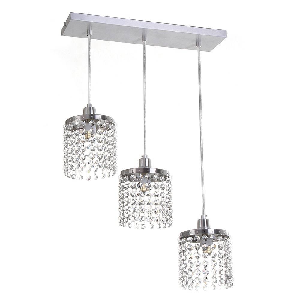 Pendente Cadence - 3 Lâmpadas - em Alumínio Escovado e Cristais Importados - 88x40 cm