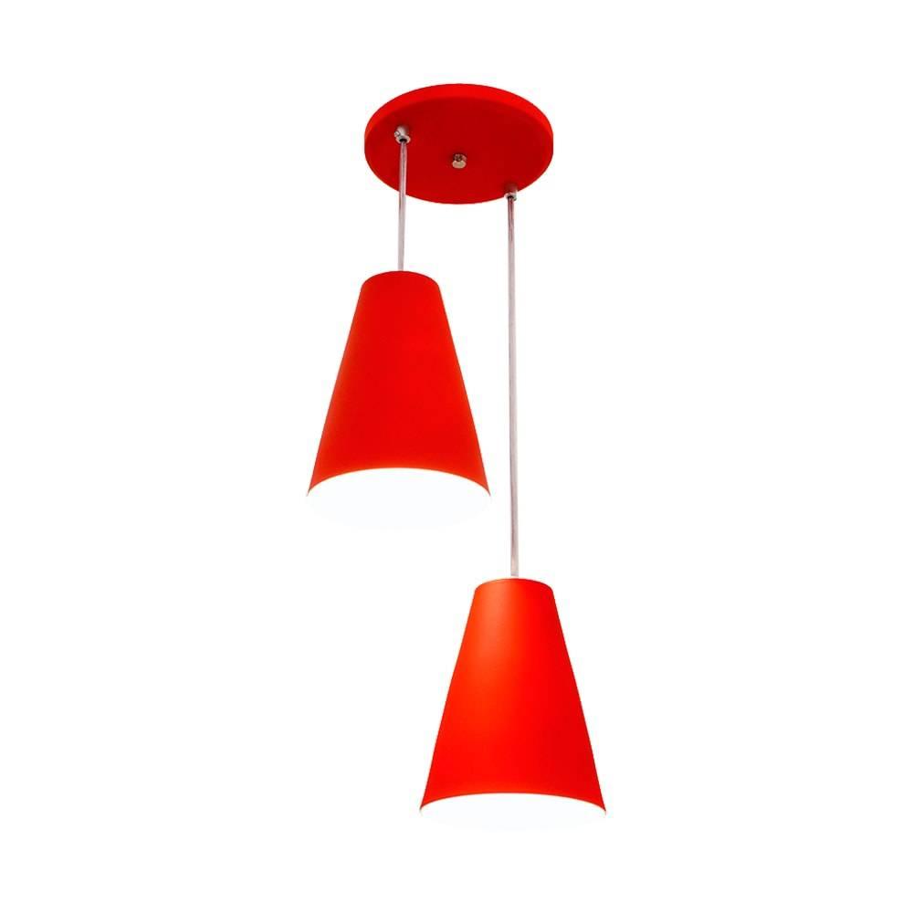 Pendente Cadiz Duplo Vermelho em Alumínio - com Haste Regulável - 80x25 cm
