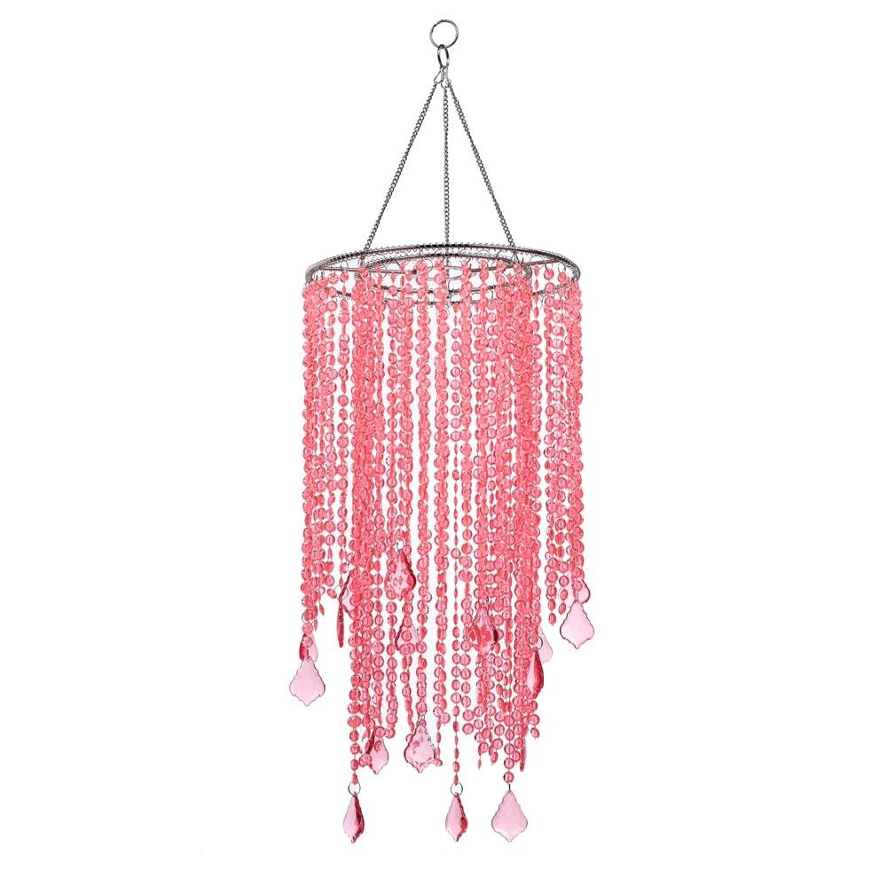 Pendente Carmona Rosa Pink Médio - Bivolt - em Metal e Acrílico - 50x21 cm
