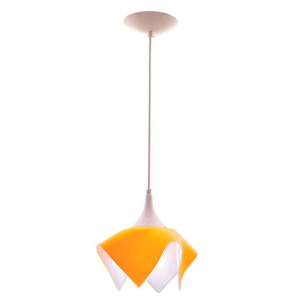 Pendente Color Amarelo em Alumínio Escovado e Vidro - 88x22 cm