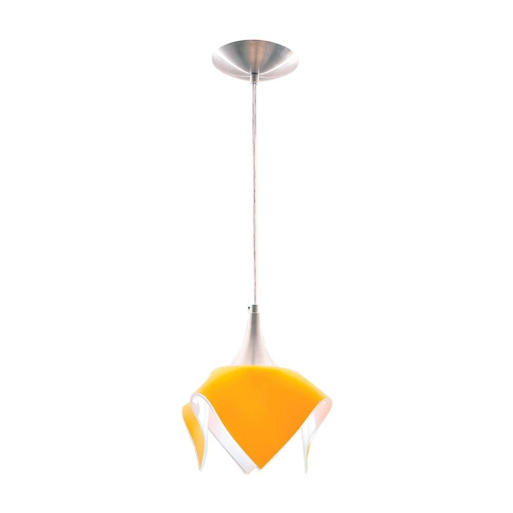 Pendente Color Amarelo em Alumínio Escovado e Vidro Temperado - 88x20 cm