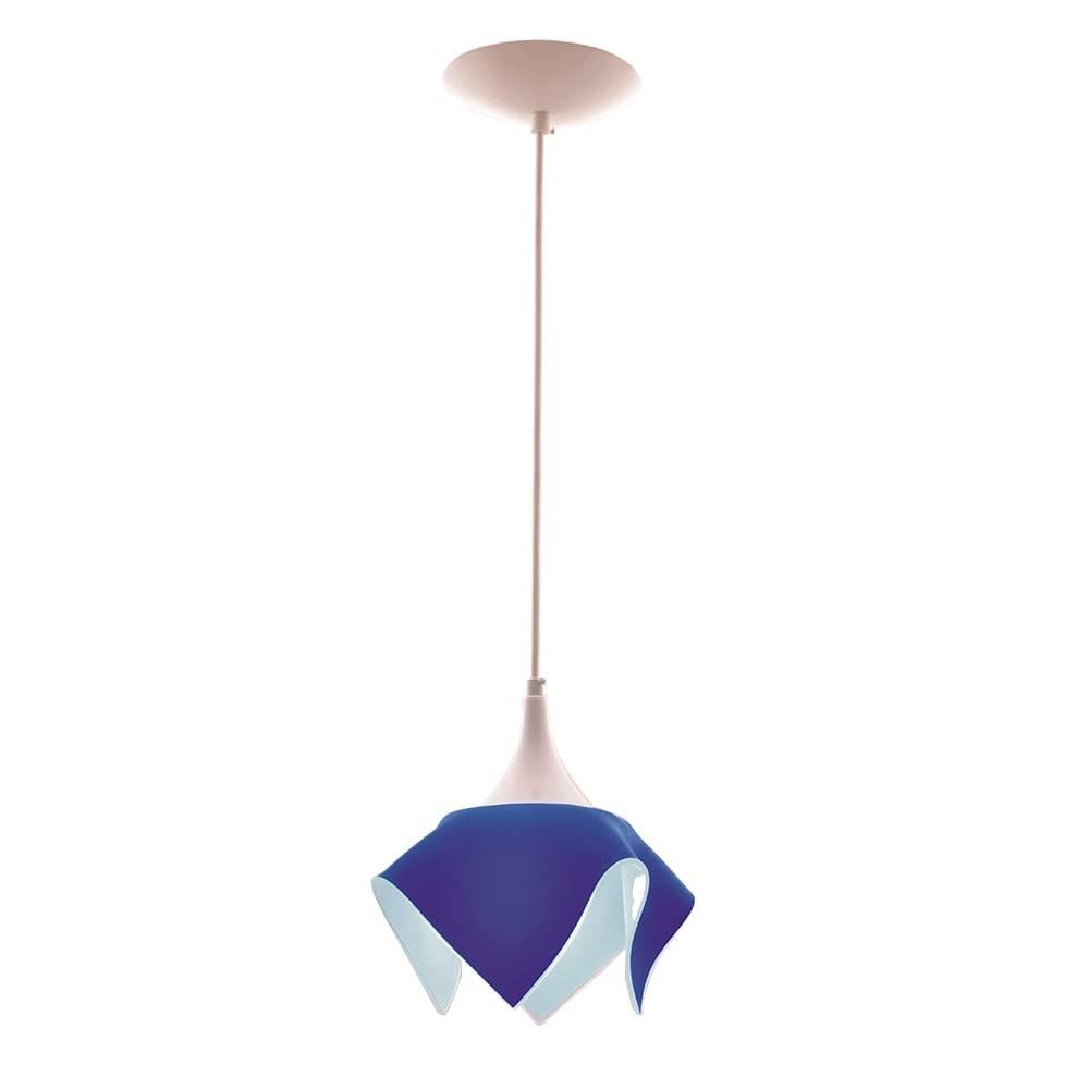 Pendente Color Azul em Alumínio Escovado e Vidro - 88x20 cm