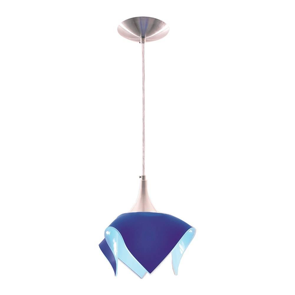 Pendente Color Azul em Alumínio Escovado e Vidro Temperado - 88x20 cm