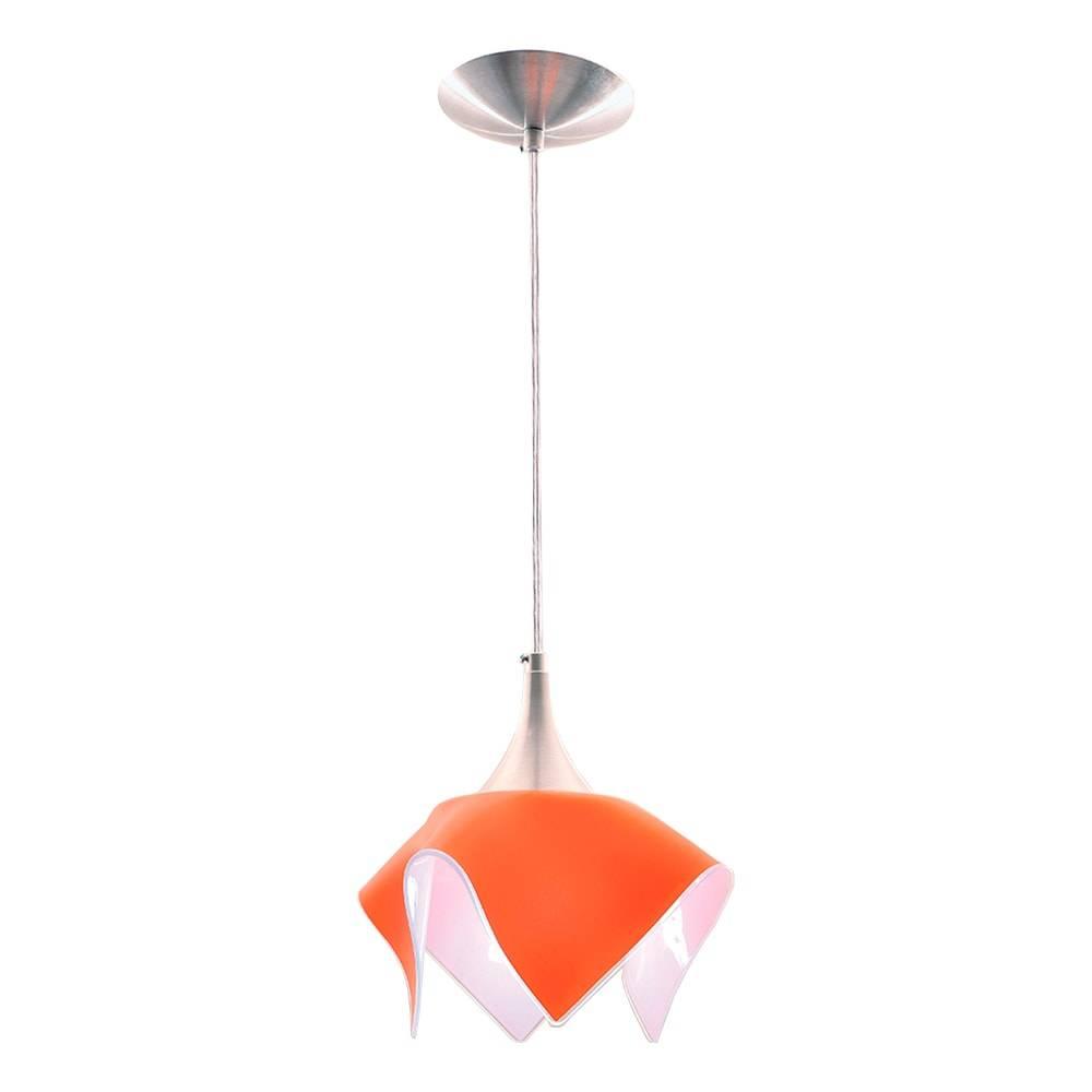 Pendente Color Laranja em Alumínio Escovado e Vidro Temperado - 88x20 cm
