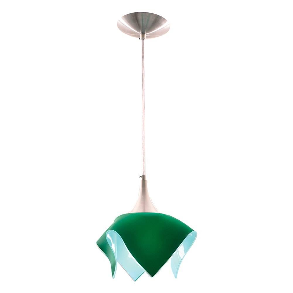 Pendente Color Verde em Alumínio Escovado e Vidro Temperado - 88x20 cm