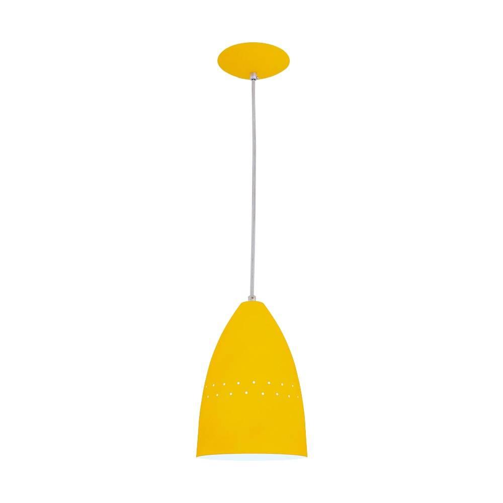 Pendente Cone Amarelo - Haste Regulável - em Alumínio - 80x16 cm