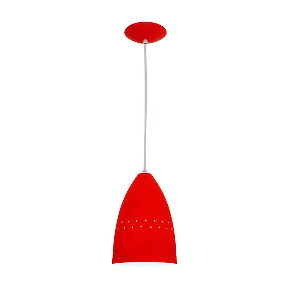 Pendente Cone Vermelho em Alumínio - com Haste Regulável - 80x16 cm