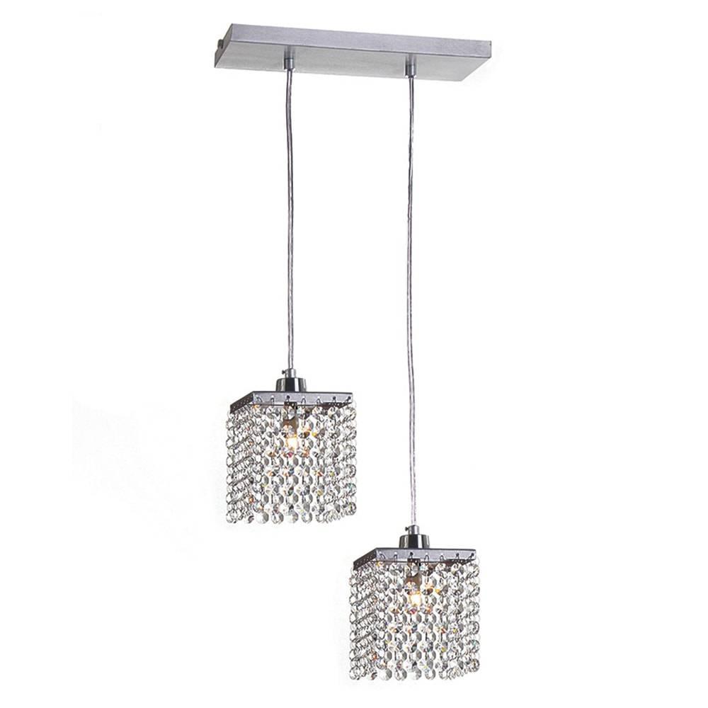 Pendente Cordoba - 2 Lâmpadas G9 - em Alumínio e Cristais Importados - 88x33 cm