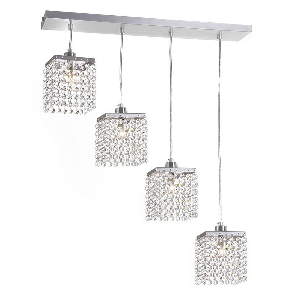 Pendente Cordoba - 4 Lâmpadas G9 - Alumínio Escovado e Cristal Importado - 88x57 cm