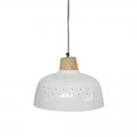 Pendente Damasia Branco/Natural em Ferro - 33x33 cm