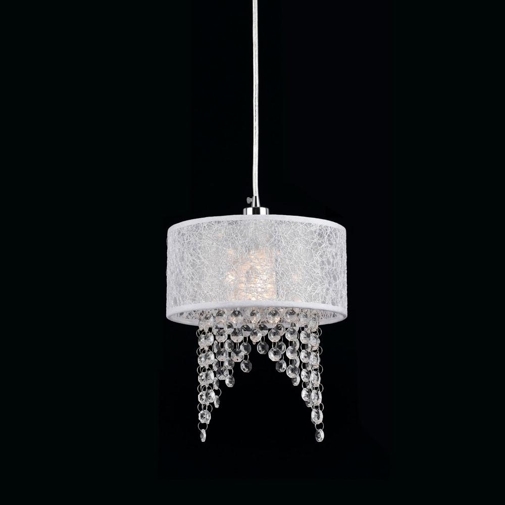 Pendente Dome Branco - Bivolt - em Metal e Cristais - 30x20 cm