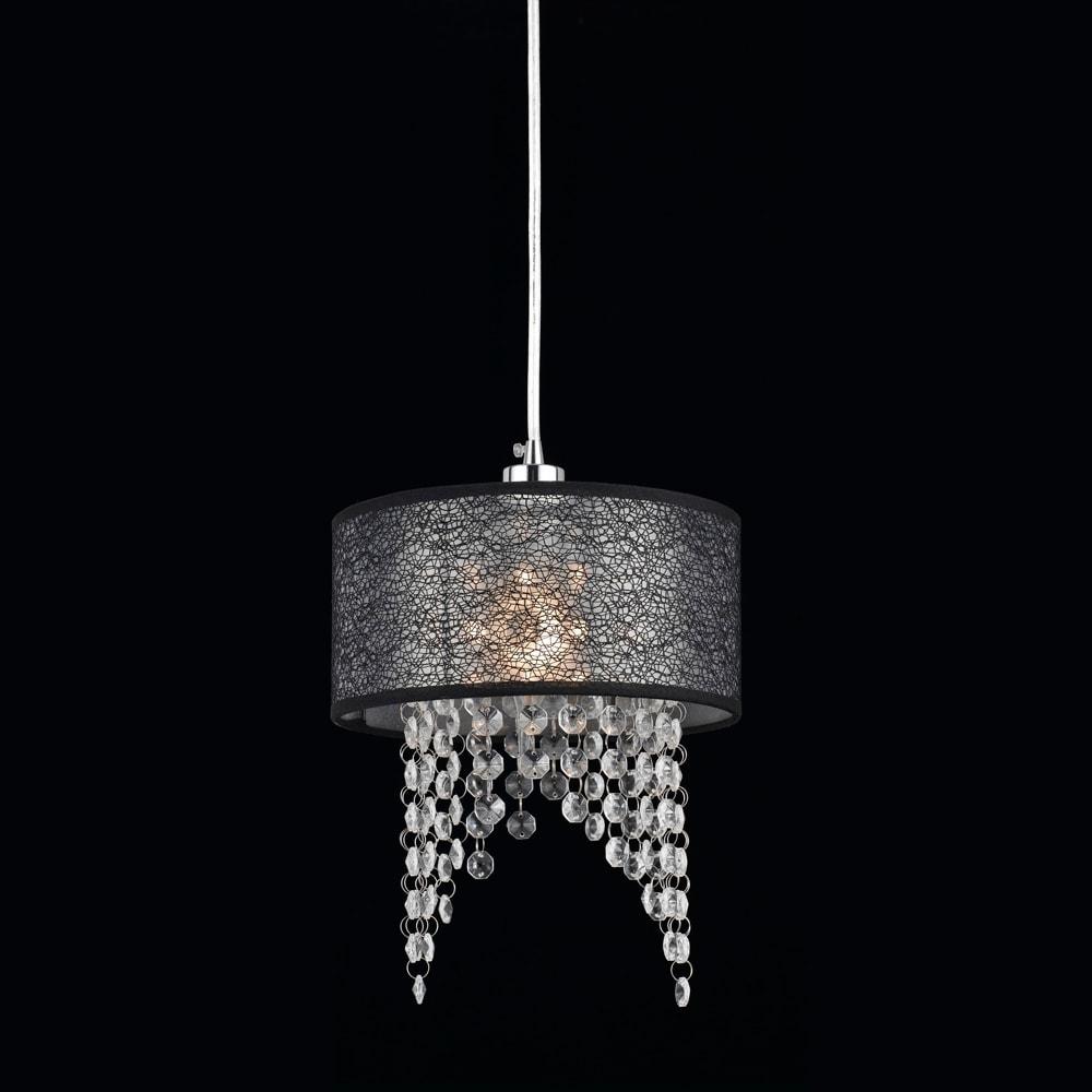 Pendente Dome Preto - Bivolt - em Metal e Cristais - 30x20 cm