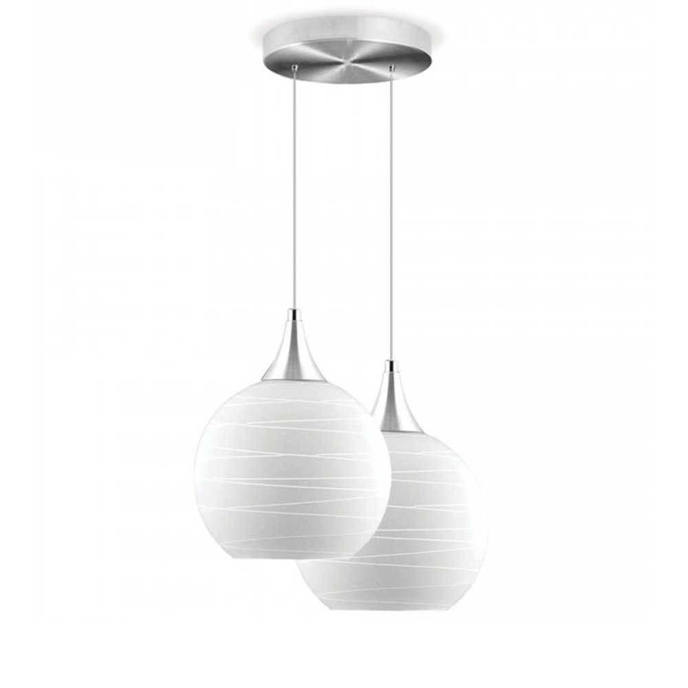 Pendente Double Ball Branco em Vidro e Alumínio - 90x18 cm