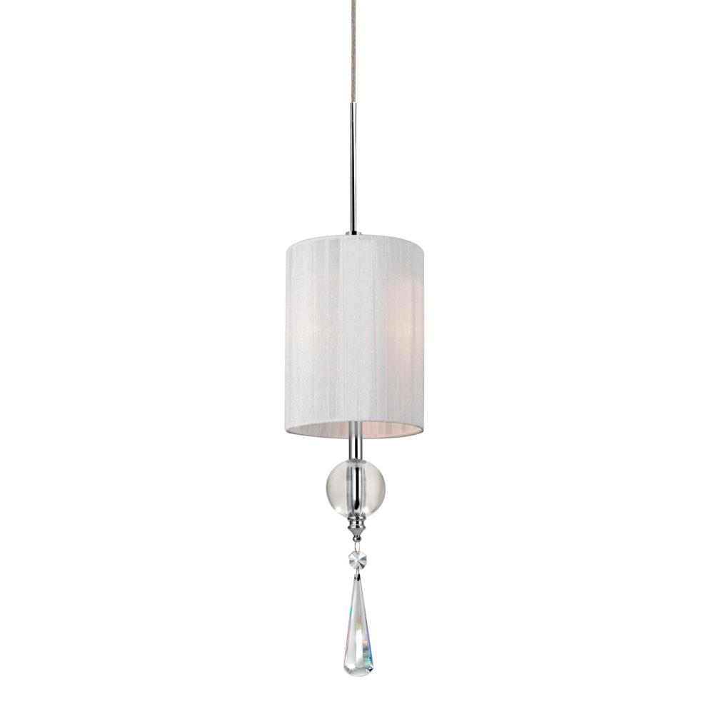 Pendente Drop Redondo Branco - Bivolt - Metal e Cristais - 34x11 cm
