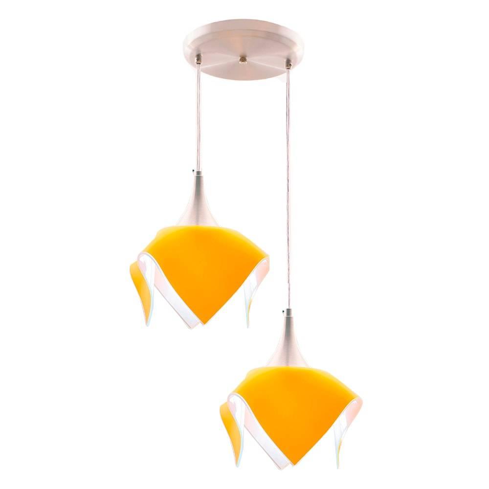 Pendente Duplo Color Amarelo em Alumínio Escovado e Vidro - 103x31 cm