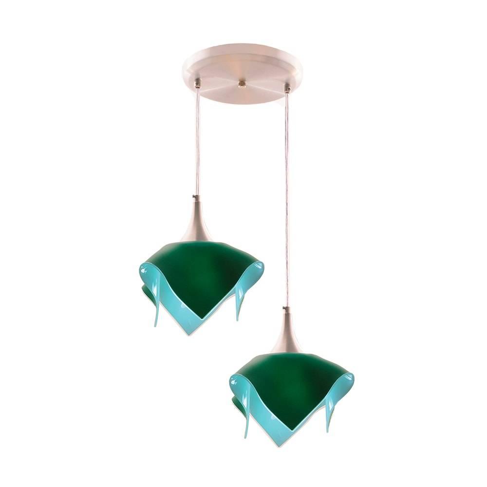 Pendente Duplo Color Verde em Alumínio Escovado e Vidro - 103x31 cm