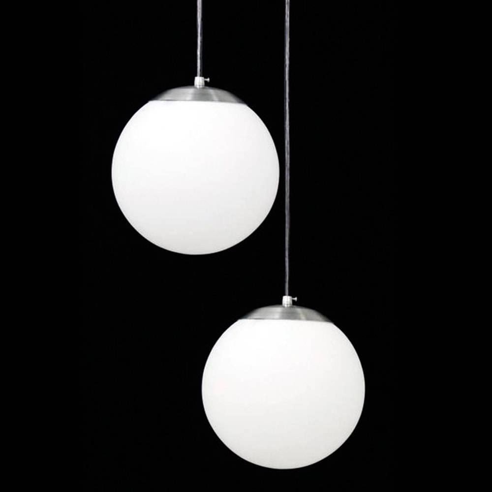 Pendente Duplo Esférico Leitoso Branco em Alumínio Escovado e Vidro Fosco - 100x30 cm