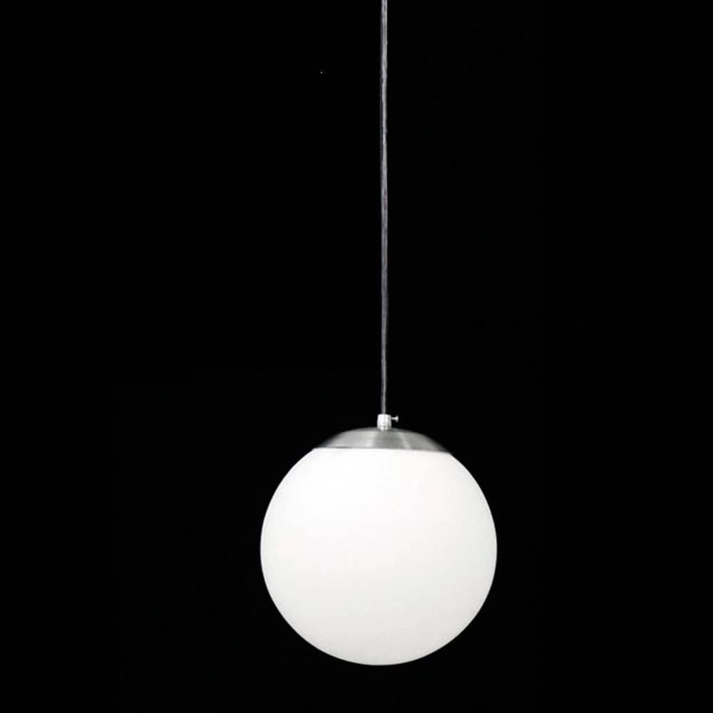 Pendente Esférico Leitoso Branco em Alumínio Escovado e Vidro Fosco - 100x20 cm