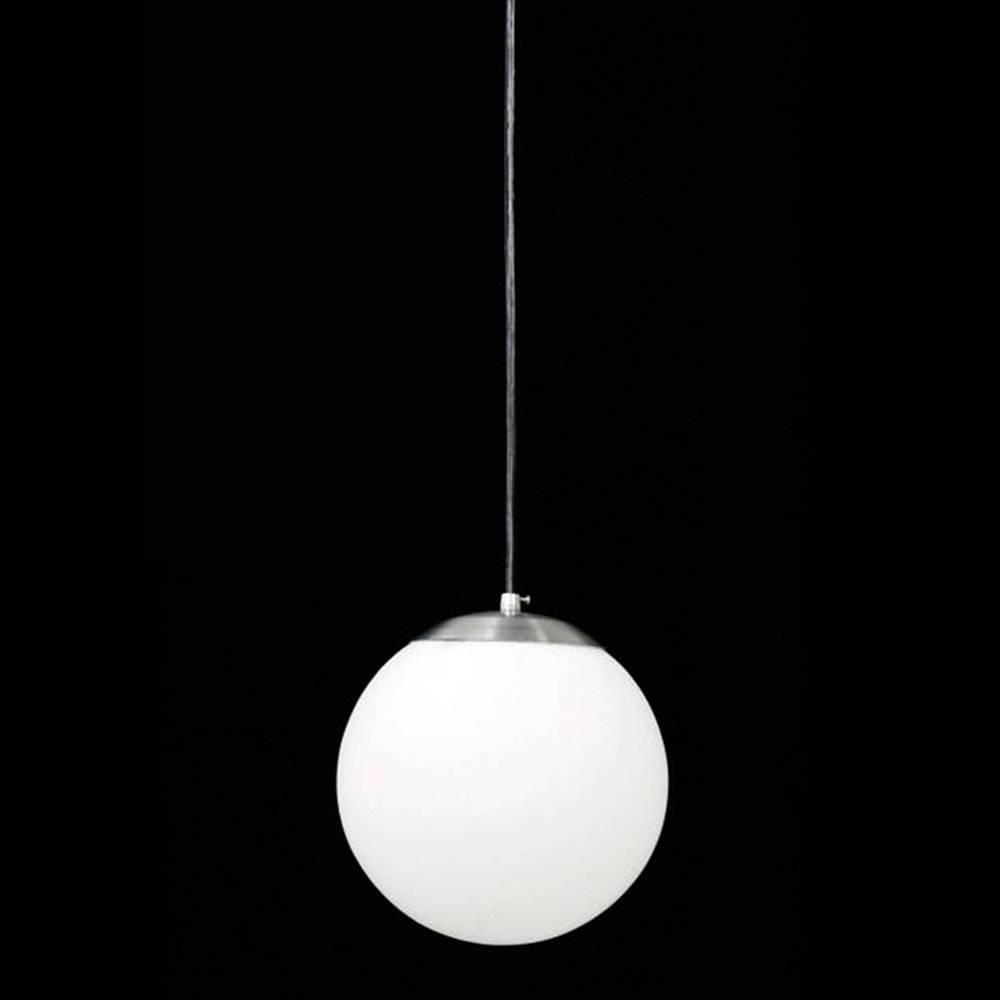 Pendente Esférico Leitoso Branco Grande em Alumínio Escovado e Vidro Fosco - 110x30 cm