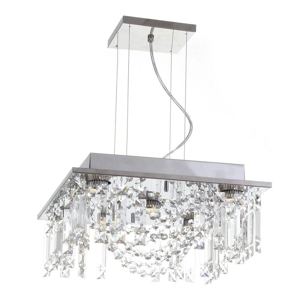 Pendente Eugene - Lâmpadas GU10 - em Aço Inox e Cristal Importado - 90x38 cm