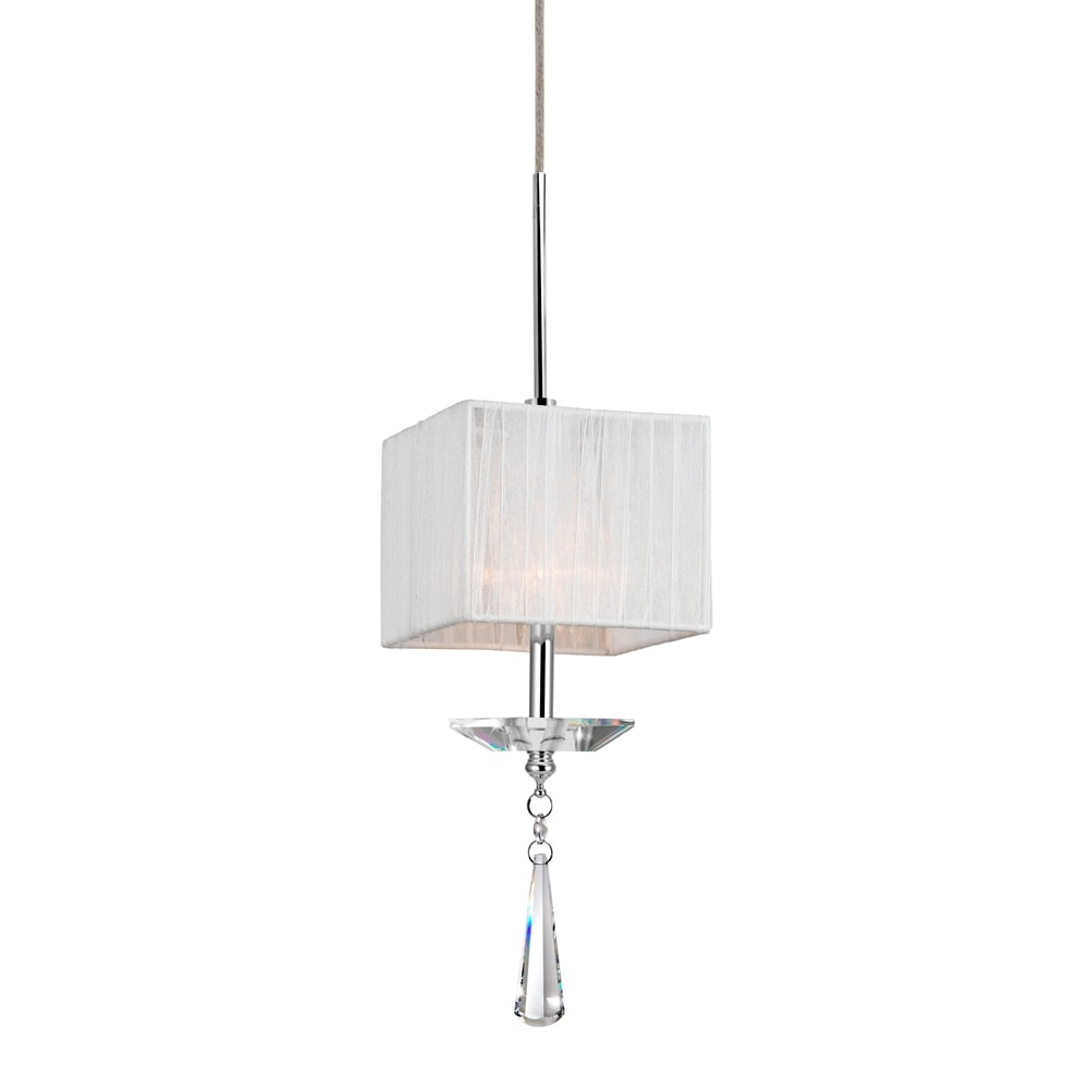 Pendente Fusion Branco - Bivolt - Metal e Cristais - 40x11 cm