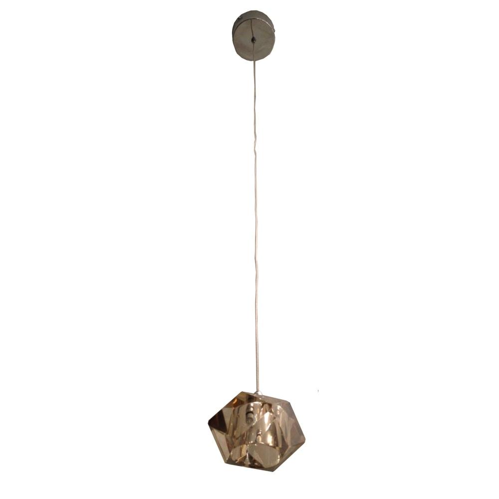Pendente Geometrisch Conhaque - Bivolt - em Metal e Vidro - 10x7 cm