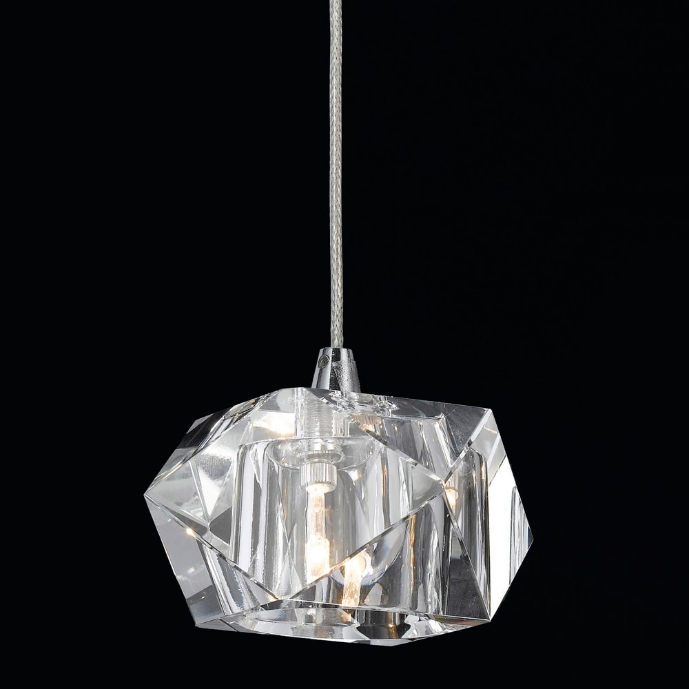 Pendente Geometrisch Translúcido - Bivolt - em Metal e Vidro - 10x7 cm