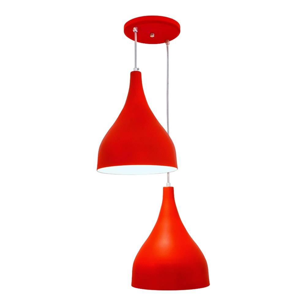 Pendente Ibiza Duplo Vermelho em Alumínio - com Haste Regulável - 100x38 cm