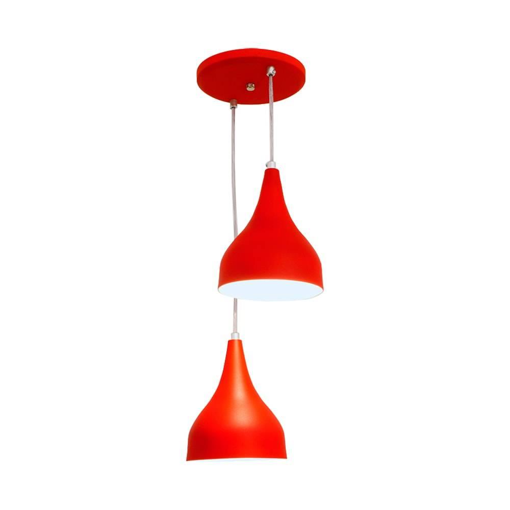 Pendente Ibiza Duplo Vermelho em Alumínio - com Haste Regulável - 80x25 cm