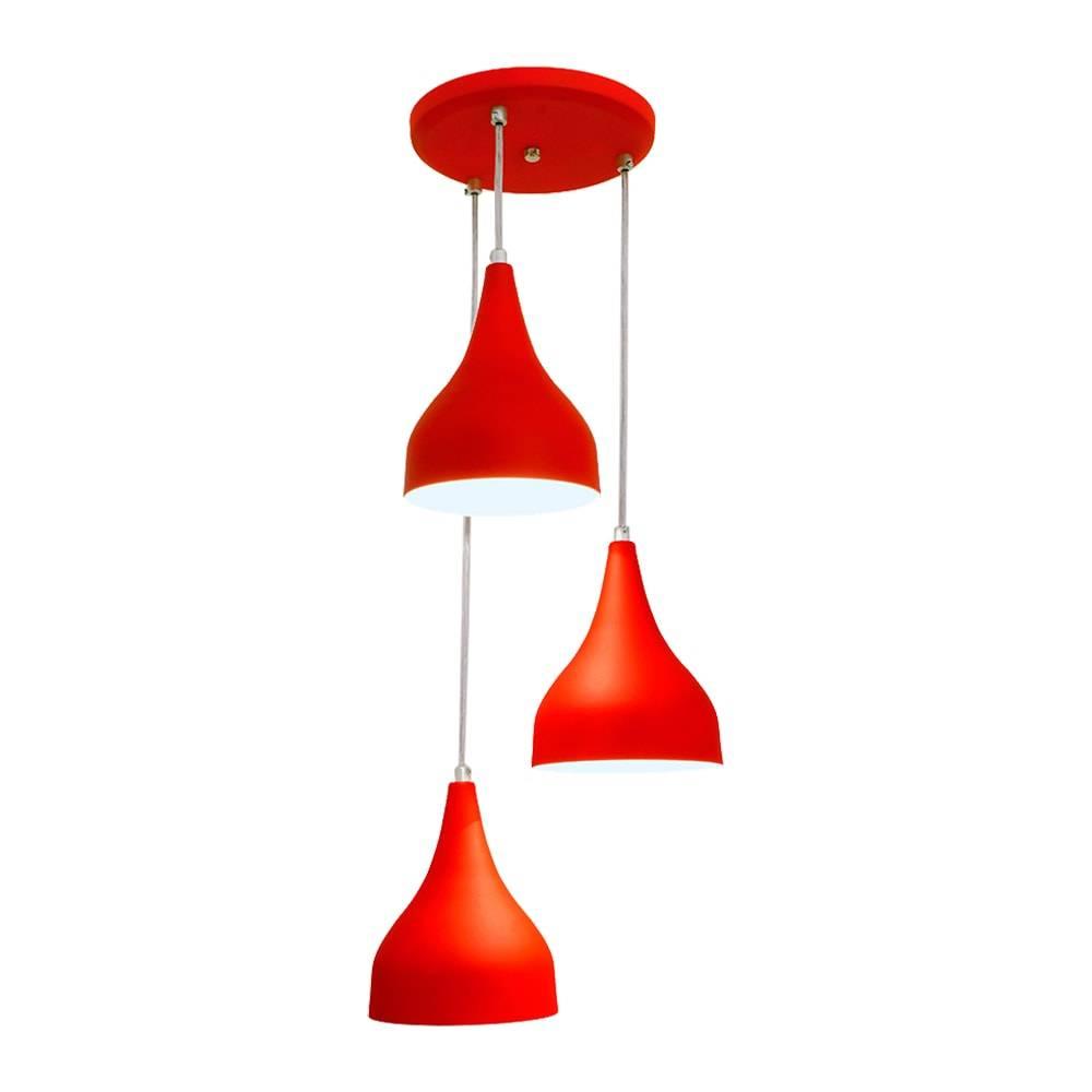 Pendente Ibiza Triplo Vermelho em Alumínio - c/ Haste Regulável - 80x25 cm