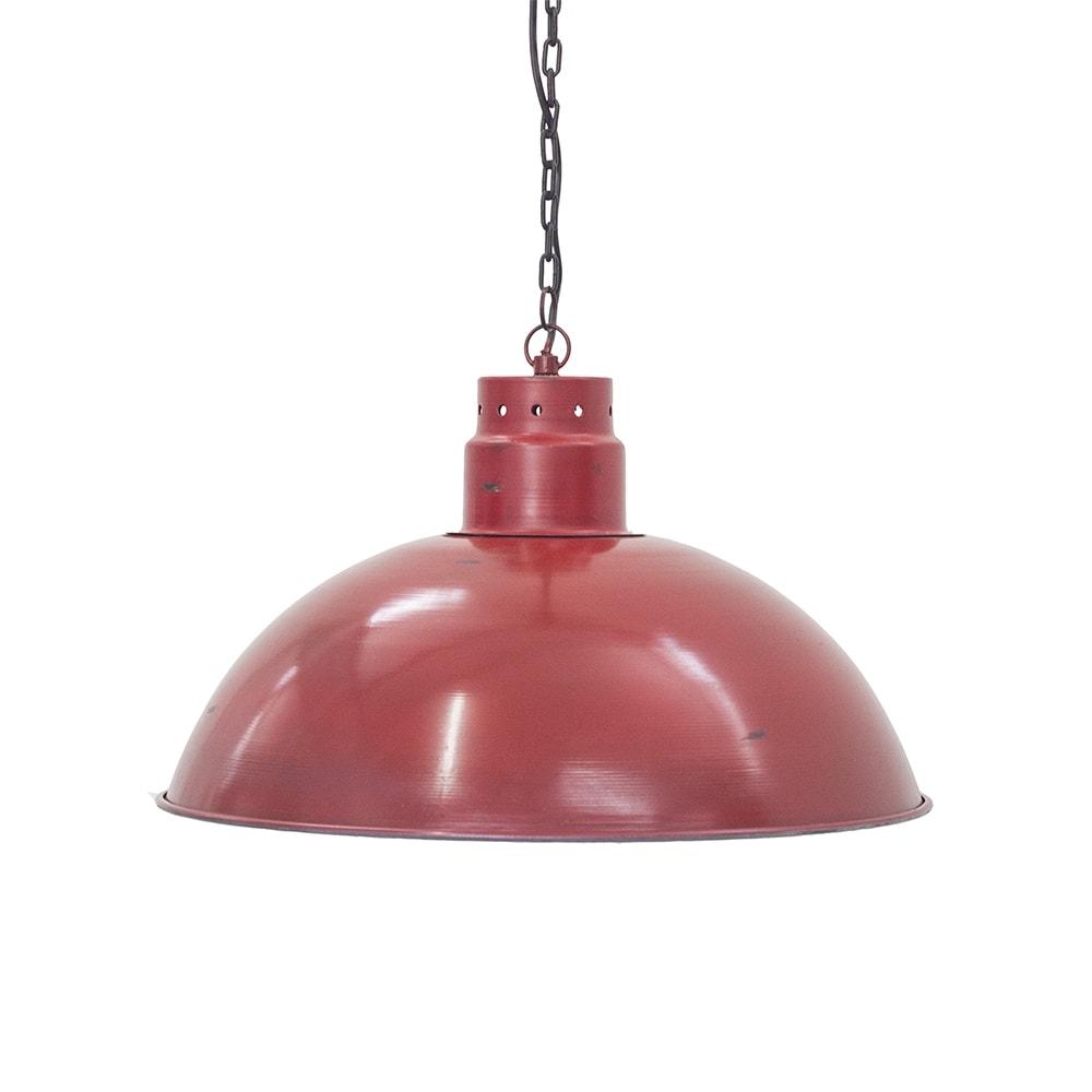 Pendente Industrial Raimond Vermelho em Ferro - 50x27 cm