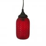 Pendente Kapsel Vermelho - Bivolt - em Metal e Vidro - 21x10 cm